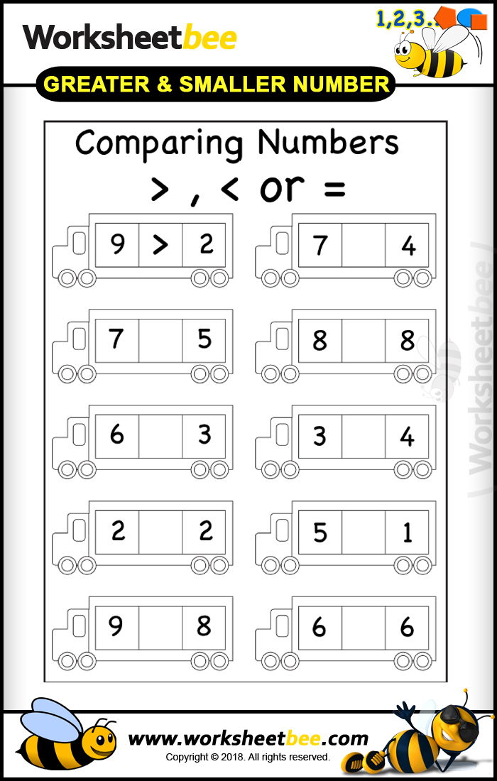 Printable Worksheet for Kids About to Comparing Numbers 1 ...